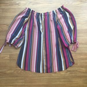 Wrapper Tops - Wrapper Striped 3/4 Sleeve Blouse